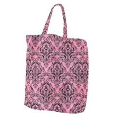 Damask1 Black Marble & Pink Watercolor Giant Grocery Zipper Tote