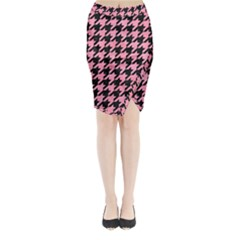 Houndstooth1 Black Marble & Pink Watercolor Midi Wrap Pencil Skirt