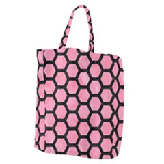 Hexagon2 Black Marble & Pink Watercolor Giant Grocery Zipper Tote