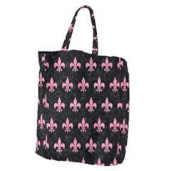 Royal1 Black Marble & Pink Watercolor Giant Grocery Zipper Tote