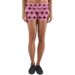 Royal1 Black Marble & Pink Watercolor (r) Yoga Shorts