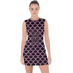 Scales1 Black Marble & Pink Watercolor (r) Lace Up Front Bodycon Dress