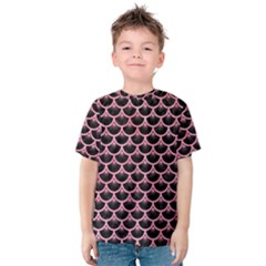 Scales3 Black Marble & Pink Watercolor (r) Kids  Cotton Tee