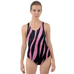 Skin3 Black Marble & Pink Watercolor (r) Cut Out Back One Piece Swimsuit