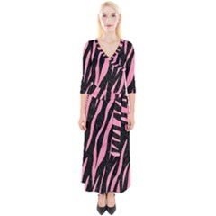 Skin3 Black Marble & Pink Watercolor (r) Quarter Sleeve Wrap Maxi Dress