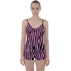 Skin4 Black Marble & Pink Watercolor Tie Front Two Piece Tankini