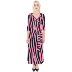 Skin4 Black Marble & Pink Watercolor (r) Quarter Sleeve Wrap Maxi Dress