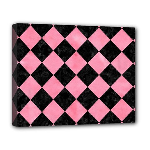 Square2 Black Marble & Pink Watercolor Deluxe Canvas 20  X 16