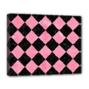 SQUARE2 BLACK MARBLE & PINK WATERCOLOR Deluxe Canvas 20  x 16   View1