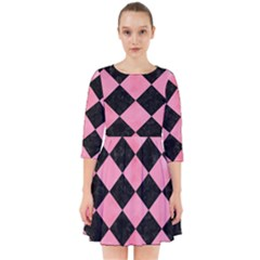 Square2 Black Marble & Pink Watercolor Smock Dress