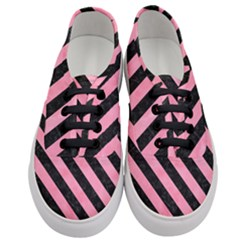Stripes3 Black Marble & Pink Watercolor Women s Classic Low Top Sneakers