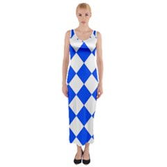 Blue White Diamonds Seamless Fitted Maxi Dress