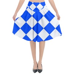 Blue White Diamonds Seamless Flared Midi Skirt