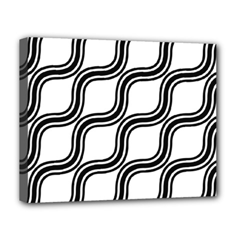 Diagonal Pattern Background Black And White Deluxe Canvas 20  X 16