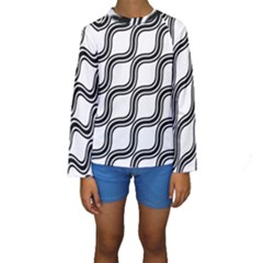 Diagonal Pattern Background Black And White Kids  Long Sleeve Swimwear