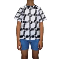 Diagonal Pattern Background Black And White Kids  Short Sleeve Swimwear