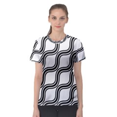 Diagonal Pattern Background Black And White Women s Sport Mesh Tee