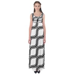 Diagonal Pattern Background Black And White Empire Waist Maxi Dress