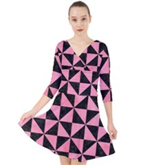 Triangle1 Black Marble & Pink Watercolor Quarter Sleeve Front Wrap Dress