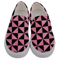 Triangle1 Black Marble & Pink Watercolor Men s Canvas Slip Ons