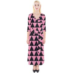 Triangle2 Black Marble & Pink Watercolor Quarter Sleeve Wrap Maxi Dress