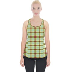 Geometric Tartan Pattern Square Piece Up Tank Top