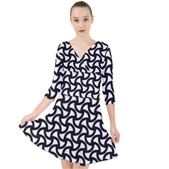 Grid Pattern Background Geometric Quarter Sleeve Front Wrap Dress