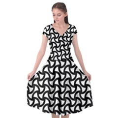 Grid Pattern Background Geometric Cap Sleeve Wrap Front Dress