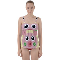 Luck Lucky Pig Pig Lucky Charm Twist Front Tankini Set