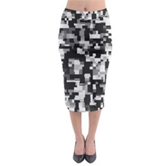 Noise Texture Graphics Generated Midi Pencil Skirt