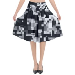 Noise Texture Graphics Generated Flared Midi Skirt