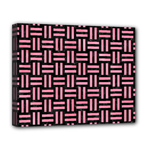 Woven1 Black Marble & Pink Watercolor (r) Deluxe Canvas 20  X 16