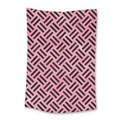 Woven2 Black Marble & Pink Watercolor Small Tapestry