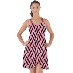 Woven2 Black Marble & Pink Watercolor Show Some Back Chiffon Dress