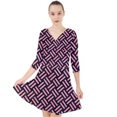 Woven2 Black Marble & Pink Watercolor (r) Quarter Sleeve Front Wrap Dress