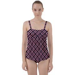 Woven2 Black Marble & Pink Watercolor (r) Twist Front Tankini Set