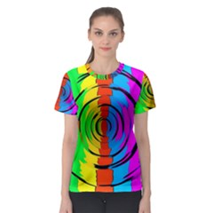 Pattern Colorful Glass Distortion Women s Sport Mesh Tee