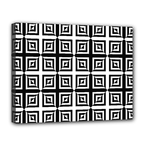 Seamless Pattern Background Black And White Canvas 14  X 11