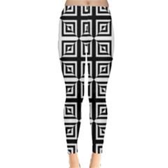 Seamless Pattern Background Black And White Leggings
