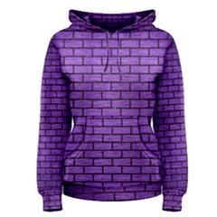 Brick1 Black Marble & Purple Brushed Metal Women s Pullover Hoodie