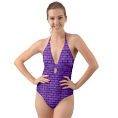 Brick1 Black Marble & Purple Brushed Metal Halter Cut Out One Piece Swimsuit