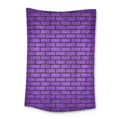 Brick1 Black Marble & Purple Brushed Metal Small Tapestry