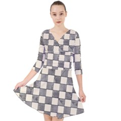 Pattern Background Texture Quarter Sleeve Front Wrap Dress