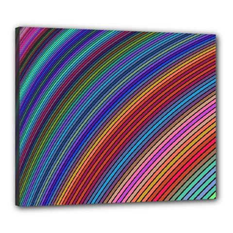 Multicolored Stripe Curve Striped Canvas 24  X 20
