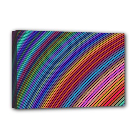 Multicolored Stripe Curve Striped Deluxe Canvas 18  X 12