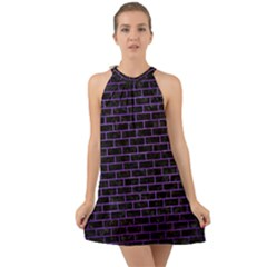 Brick1 Black Marble & Purple Brushed Metal (r) Halter Tie Back Chiffon Dress