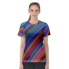 Multicolored Stripe Curve Striped Women s Sport Mesh Tee