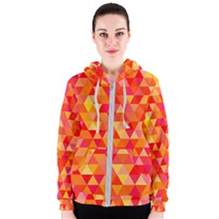 Triangle Tile Mosaic Pattern Women s Zipper Hoodie