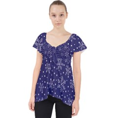 Snowflakes Pattern Lace Front Dolly Top