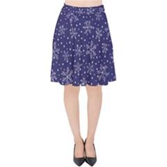 Snowflakes Pattern Velvet High Waist Skirt